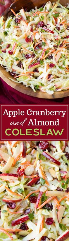 Apple Cranberry Almond Coleslaw - love that it uses mostly Greek yogurt instead of mayo! Easy, healthy, and delicious! #weightlosssmoothies