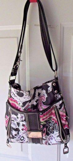 Tyler Rodan Handbag Messenger Purse Black Pink Paisley Print #TylerRodan #MessengerCrossBody