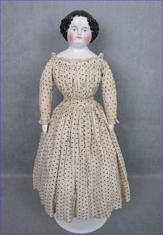 """Civil War Era China Head Lady Doll 21"""" Tall Beautifully Dressed"""