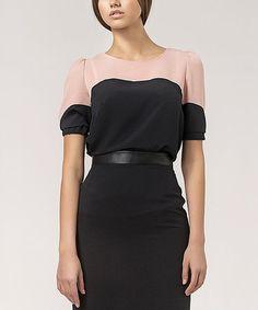 Black & Pink Color Block Scoop Neck Top #zulily #zulilyfinds