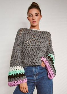 Cropped hippie style top image 1 Always aspired to figure out how to knit, although uncertain the p. Black Crochet Dress, Crochet Crop Top, Crochet Jacket, Crochet Cardigan, Pull Crochet, Mode Crochet, Chunky Crochet, Knit Crochet, Hippie Style
