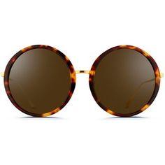 Linda Farrow Tortoiseshell acetate oversize round titanium sunglasses