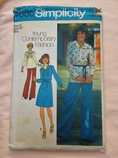 Simplicity 7086 Size 12 Bust 34 Vintage Sewing Pattern Seventies 70's Retro Dressmaking Shirt Blouse Tunic Dress Wide Legged Pants Ruffled by TinySparrowTreasures on Etsy