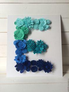 """Купить Объмная цветочная буква """"Е"""" (переход цвета) бирюзовый, тиффани, синий…"""
