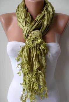 Pistachio Satin Scarf with Trim Edge by SwedishShop on Etsy, $19.90