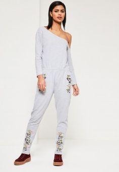 Grey Off the Shoulder Embroidered Jumpsuit