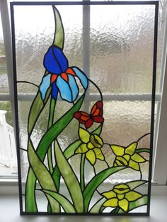 Spring Bouquet of Iris Daffodils and Butterfly by WithinGlass, $175.00
