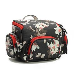 Black Floral Camera Bag for womenDSLR Camera case Purse for Canon Rebel EOS t5sx530SL1100D450D600D Sony a6000a5000 Nikon D3100 d3200 Small Size -- You can find out more details at the link of the image.