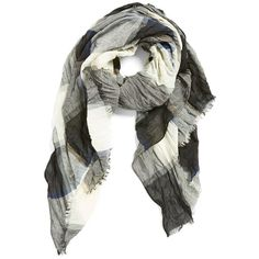 Steve Madden Crinkle Plaid Scarf ($32) ❤ liked on Polyvore featuring accessories, scarves, neutral, steve madden, plaid shawl, crinkle scarves, steve madden scarves and fringed shawls