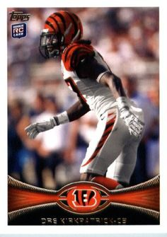 2012 Topps Football Card # 337 Dre Kirkpatrick RC - Cincinnati Bengals (RC - Rookie Card) (NFL Trading Card) by 2012 Topps. $3.95. 2012 Topps Football Card # 337 Dre Kirkpatrick RC - Cincinnati Bengals (RC - Rookie Card) (NFL Trading Card)