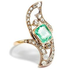 Um 1900: Jugendstil SMARAGD & Diamant RING Diamantrosen, 750er Gold Art Nouveau