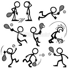 Stickfigure Tennis Royalty Free Stock Vector Art Illustration