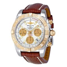 Breitling Men's Chronomat Diamond Watch with Brown Leather Strap. Shop Breitling watches on vpUSA today!