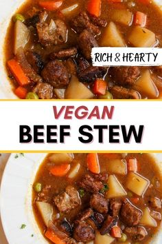COMFORTING VEGETARIAN STEW This vegan beef stew is hearty, satisfying and delicious. It will warm you up on the coldest of days. Made with a rich and savory broth, potatoes, carrots, onions, peas and vegan beef tips. #vegan #vegetarian #stew #dinner #onepot Quick Vegan Meals, Vegan Dinner Recipes, Vegan Dinners, Easy Healthy Recipes, Vegetarian Stew, Vegan Beef, Vegan Soup, Easy Beet Recipe, Beet Recipes