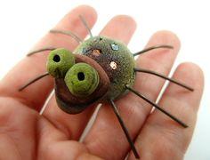 Raku Spider Ceramic Pet Cabochon Raku Jewelry by MAKUstudio, $30.00