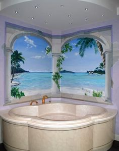 """Tahiti"" Trompe l'oeil Mural in bathroom and deep walk in whirlpool tub or hot tub. Nice bold effect for a bathroom. Creates a serene atmosphere. Painting Wallpaper, Mural Painting, Mural Art, Wall Wallpaper, Wall Murals, Wall Art, Wall Paintings, Murals Street Art, Bathroom Mural"