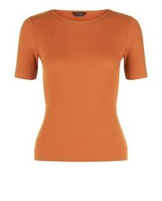 Rust Ribbed T-Shirt  | New Look