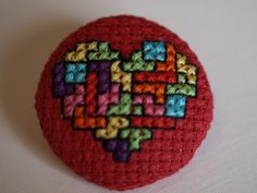 Tetris Heart Cross Stitch Fabric Covered Button by kirsty4363, $2.38