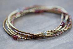Stretch Bracelet with Garnet & Moss Aquamarine Delicate