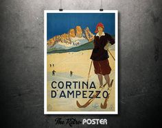 1920 Cortina D'Ampezzo, Italy - Vintage Travel Tourism Poster // High Quality Fine Art Reproduction Giclée Print by TheRetroPoster on Etsy