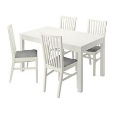 BJURSTA / NORRNÄS, Table and 4 chairs, white, Isunda grey