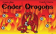 Ender Dragons B52848  digitally printed vinyl soccer sports team banner. Made in the USA and shipped fast by BannersUSA.  You can easily create a similar banner using our Live Designer where you can manipulate ALL of the elements of ANY template.  You can change colors, add/change/remove text and graphics and resize the elements of your design, making it completely your own creation.