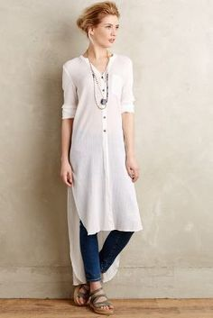 5714 New Anthropologie Holding Horses Gauze White Buttondown Shirt Tunic Top S Modest Fashion, Hijab Fashion, Petite Outfits, Casual Outfits, Bluse Outfit, Hijab Stile, Long Tunic Tops, Moda Casual, Kurta Designs