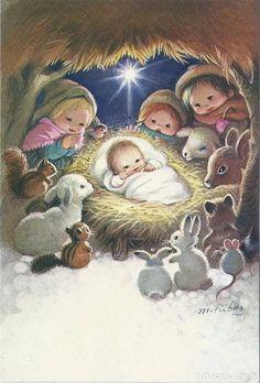 Old Christmas, Christmas Scenes, Christmas Cards To Make, Christmas Nativity, Vintage Christmas Cards, Vintage Cards, Christmas Decorations, Christmas Illustration, Cute Illustration
