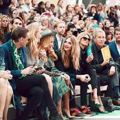 Buberry guests on the front row before the Spring/Summer 2015 show - Mario Testino, Kate Moss, Cara Delevingne and Paloma Faith