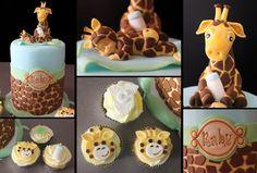 Giraffe Theme Baby Shower Cake