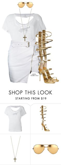"""Heart of gold"" by saskiasnow ❤ liked on Polyvore featuring Unravel, Giuseppe Zanotti, Just Female Acces and Linda Farrow"