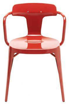 Fauteuil T14 empilable / Inox - Intérieur /extérieur Rouge brillant - Tolix - Décoration et mobilier design avec Made in Design
