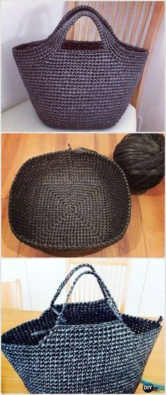 Crochet Vinyl String Handbag Free Pattern - Crochet Handbag Free Patterns Instructions #crochethandbags