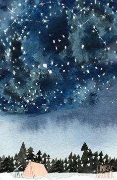 """Stargazer"" watercolor collage: Lindsay Gardner Art & Illustration. www.lindsaygardner.com"