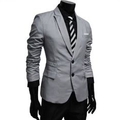 TheLees Mens casual peak lapels 2 button jacket blazer