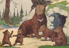 """Mother Bruin had two sets of cubs not yet ready to be on their own    Elson Basic Readers, Book Four by William H. Elson and William S. Gray. Published by Scott, Foresman and Co., 1931. Many of the illustrations done by """"Rice"""" or """"R.J.R."""""""