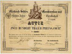 MÄRKISCH-SCHLES. MASCHINENBAU- UND HÜTTEN-ACTIEN-GESELLSCHAFT Aktie über Thaler Pr. Crt. 200; # 05725; Berlin, den 15. September 1871