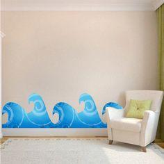 Kids Wave Decals Wave Art Sticker Wave Wall Murals by PrimeDecal