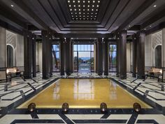 The lobby of the new Mandarin Oriental, Marrakech. The interiors are by Gilles & Bossier.
