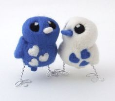 Royal Blue and White Wedding | Bird Wedding Cake Topper Royal Blue and White Love Birds Needlefelted ...