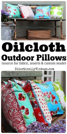 The best DIY projects & DIY ideas and tutorials: sewing, paper craft, DIY. Diy Crafts Ideas Oilcloth Fabric - Perfect for outdoors and a fun retro look! Fabric Crafts, Sewing Crafts, Diy Crafts, Pillow Crafts, Craft Projects, Sewing Projects, Outdoor Projects, Ideas Prácticas, Do It Yourself Fashion