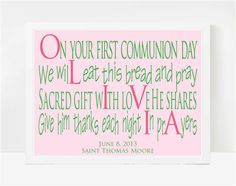 First Communion Personalized First Communion by LarkRoadRhymes, $20.00