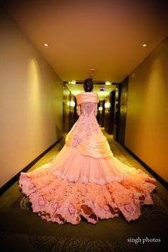 Looking for Dramatic peach sangeet gown with long train? Browse of latest bridal photos, lehenga & jewelry designs, decor ideas, etc. Cocktail Outfit, Cocktail Gowns, Lovely Dresses, Beautiful Gowns, Bridal Outfits, Bridal Dresses, Wedding Dress, Reception Gown, Indian Gowns Dresses