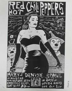 Frank Kozik Red Hot Chili Peppers And Mary's Danish Original Concert Handbill