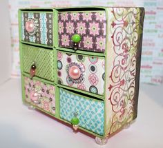 cute jewelry box made from Blossom paper and pattern from Sizzix die Cute Jewelry, Jewelry Box, Jewellery Box Making, Paper Design, Embellishments, How To Find Out, Decorative Boxes, Collections, Scrapbook