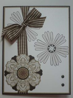 ESPRESSO AND CAKE hand stamped Stampin Up card by MadmBlueberry, $2.50