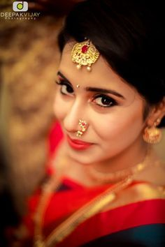 Simply Elegant Makeup with MaangTikka, Nath, and Jhumkis