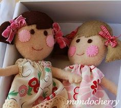 rosy cheeked wool felt dolls