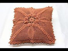(45) Capa para almofada em crochê - YouTube Crochet Mat, Crochet Lace Edging, Crochet Pillow, Crochet Flower Patterns, Crochet Squares, Baby Knitting Patterns, Crochet Designs, Cushion Cover Pattern, Crochet Cushion Cover