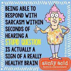 How healthy is your brain? Cartoon Jokes, Funny Cartoons, Funny Humor, Cartoon Characters, Sarcastic Quotes, Funny Quotes, Qoutes, Auntie Quotes, Aunt Acid